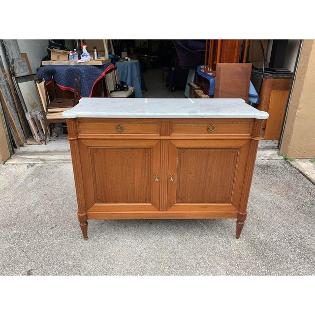 Metal 1910s French Louis XVI Antique Mahogany Sideboard or Buffet For Sale - Image 7 of 13