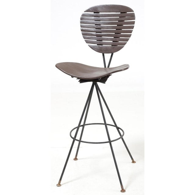 1960s Mid-Century Modern Wood and Wrought Iron Bar Stools - Set of 3 For Sale - Image 5 of 12