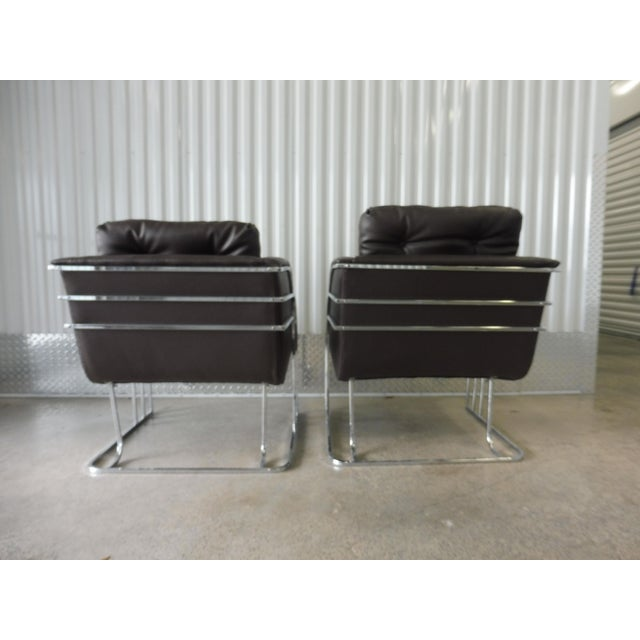 Chrome 1970's Mid-Century Modern Milo Baughman Chrome and Leather Club Chairs - a Pair For Sale - Image 8 of 11