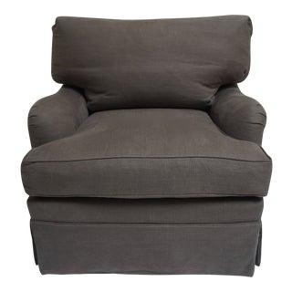 Gray Belgian Linen Swivel Arm Club Chair For Sale