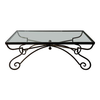 20th Century Traditional Iron & Glass Coffee Table For Sale