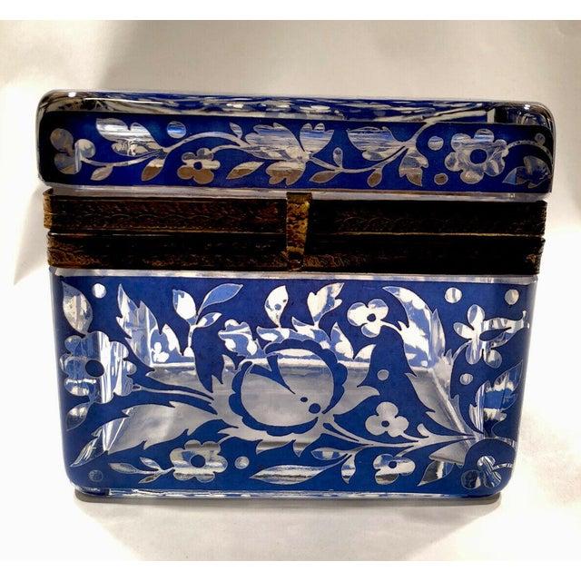 Antique Bohemian Glass Sugar Casket/ Jewelry/Vanity/Trinket Box For Sale - Image 4 of 13
