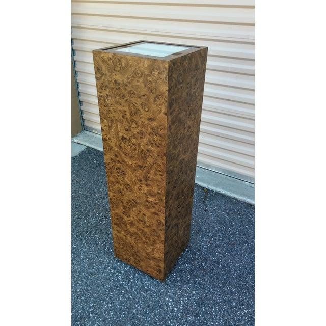 Vintage Milo Baughman Style Illuminated Burl Wood Pedestal - Image 3 of 7