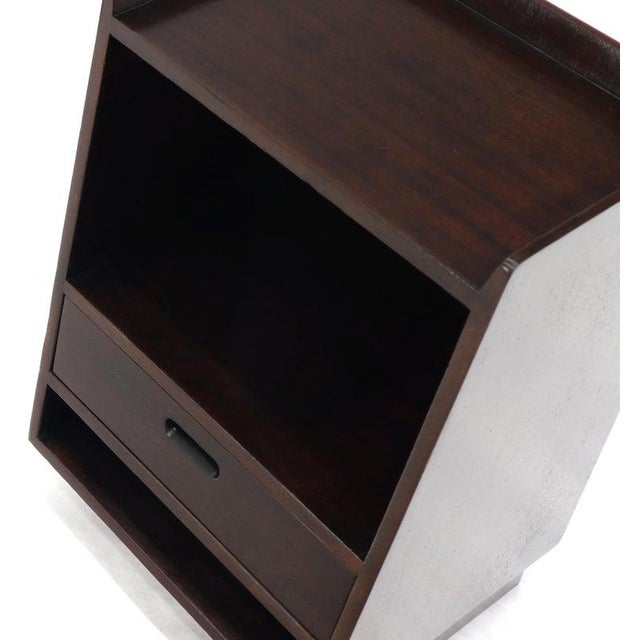 1970s Pair of Edward Wormley for Dunbar Dark Chocolate End Tables Nightstands For Sale - Image 5 of 13