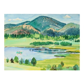 """""""Manitou Lake Pike National Forest"""" Watercolor Landscape, 1971"""