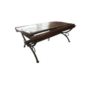 Industrial Petrified Wood/ Iron Coffee Table For Sale