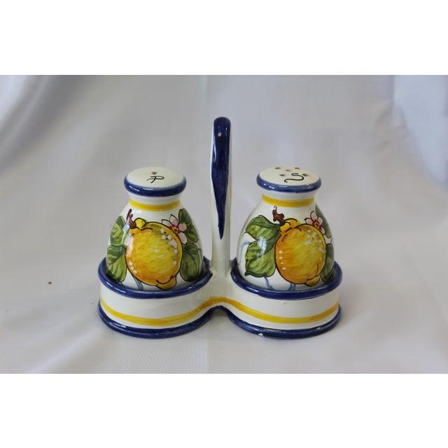 White Vintage Italian Deruta Lemon Ceramic Salt and Pepper Shakers For Sale - Image 8 of 8