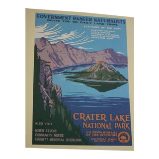 Vintage National Park Service Crater Lake Poster Print For Sale