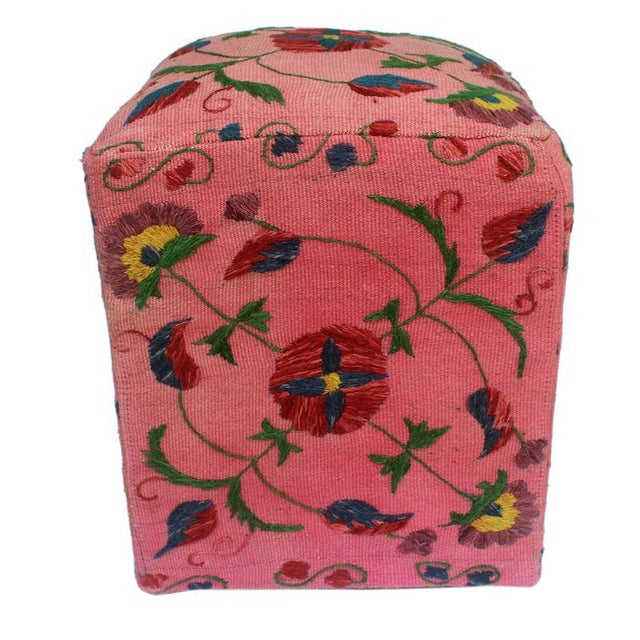 David Pink/Blue Kilim Hand Embroidered Upholstered Ottoman For Sale - Image 4 of 8