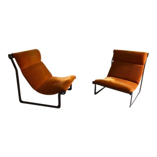 Mid Century Modern Bruce Hannah & Andrew Morrison for Knoll International Sling Lounge Chairs- A Pair For Sale