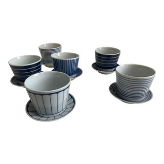 Japanese Tea Cups and Saucers - Set of 6 For Sale