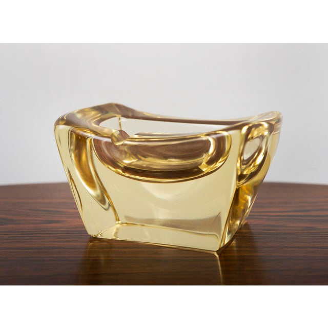 Daum Yellow Crystal Ashtray by Daum, France For Sale - Image 4 of 4