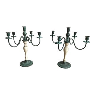 Vintage Teal Metal and Wood Painted Candelabra - a Pair For Sale