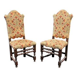 Italian Baroque Style Oak Side Chairs - a Pair For Sale