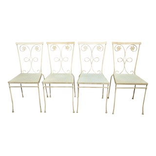 Vintage Gallo Wrought Iron Daisy Flower Art Nouveau Garden Patio Dining Chairs - Set of 4 For Sale
