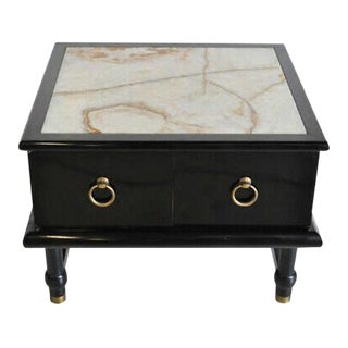 Mid Century Modern Onyx Top Black Side Table Cabinet For Sale