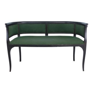 Wood Settee With Nail Heads and Green Upholstery