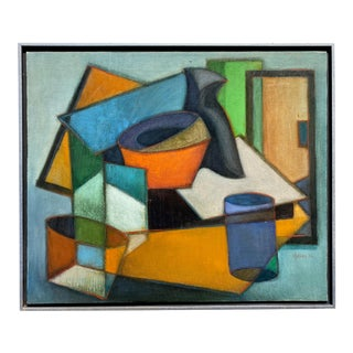 Mid-Century Cubist Oil on Canvas Painting For Sale