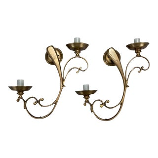 French Brass Elongated Scroll 2 Light Sconces - a Pair For Sale