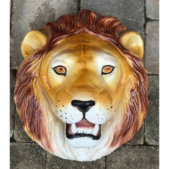 Italian Mid-Century Ceramic Lion Head Wall Sculpture For Sale - Image 11 of 11