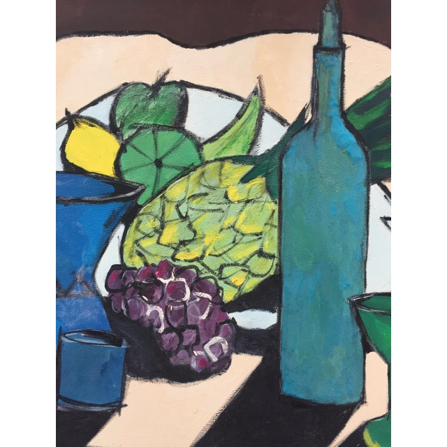 Blue Mid-Century Modern Still Life Painting For Sale - Image 8 of 10