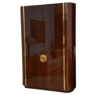 Fine and Monumental Size Karl Springer Mahogany and Brass Inlaid Cabinet For Sale