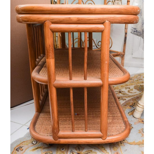 Boho Chic Vintage Rattan & Bamboo 3 Tier Dry Bar For Sale - Image 3 of 9