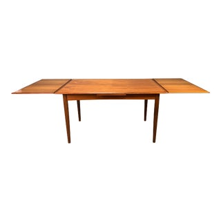 Vintage Danish Mid Century Modern Teak Dining Table With Leaves For Sale