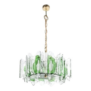 j.t Kalmar Chandelier Fixture With Murano Glass Brass, Austria 1960 For Sale