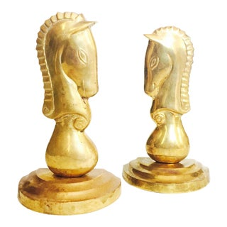 Vintage Brass Horse Bookends - a Pair