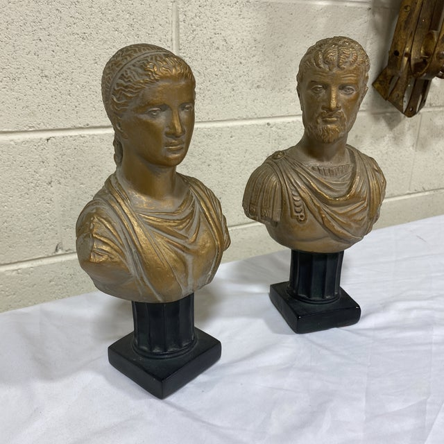 Hollywood Regency Vintage Neoclassical Chalk Ware Gold Leaf Busts - a Pair For Sale - Image 3 of 12