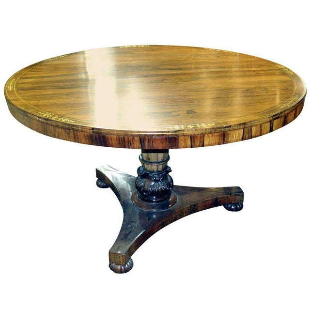 Regency Calamander Breakfast or Center Table With Brass Inlay For Sale In South Bend - Image 6 of 6