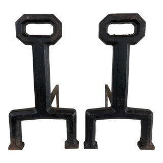 Wrought Iron Andirons, Pair