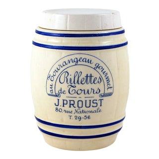 French Vintage 'Rillettes De Cours' Ceramic Barrel For Sale