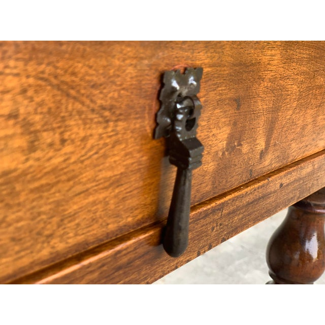 Brown Spanish 1890s Walnut Side Table Single Drawer Wit Turned Legs For Sale - Image 8 of 13