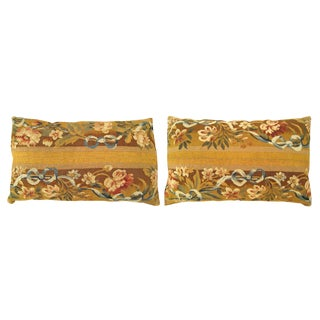 """Antique Art Deco French Aubusson Carpet Pillows With Floral Gold Brocade Backing, Size 22"""" X 18""""/ 24"""" X 16"""" - a Pair For Sale"""