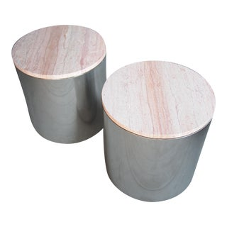 Vintage Mid-Century Modern Paul Mayen Pink Marble Top Side Tables - a Pair For Sale