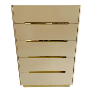 Vintage Lane Lacquer & Brass 5-Drawer Dresser For Sale