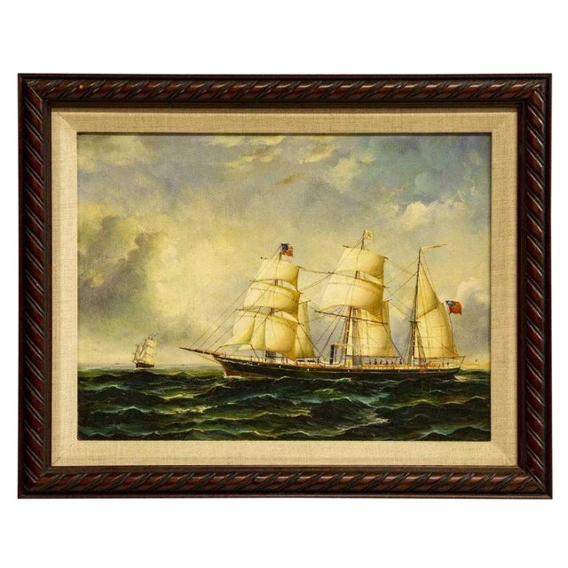 """""""Clipper Ships"""" Framed Oil on Canvas Painting For Sale"""