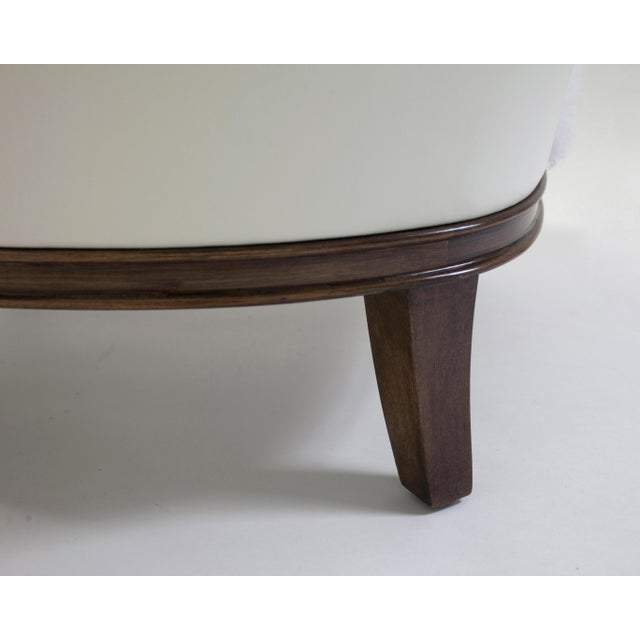 Not Yet Made - Made To Order Shearling Covered Shaped Back Chair With Wood Base and Legs With Metal Cap Feet For Sale - Image 5 of 11