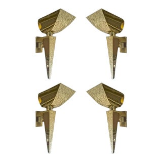 Maison Baguès Rare Documented Set of Four Neoclassic Gold Bronze Torch Sconces For Sale
