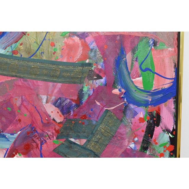 """Original oil and mixed-media on canvas, art work measures 60"""" x 60, with frame 61.5"""" x 61.5"""", """"Untitled #34"""". Joseph..."""