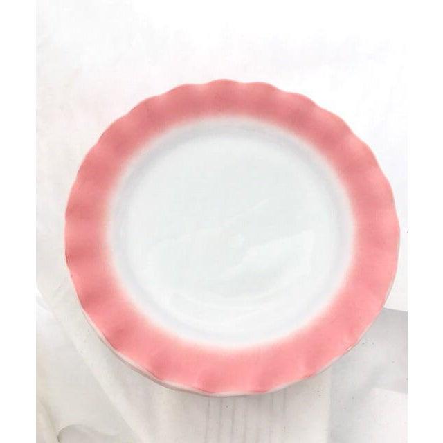 "Gorgeous Set of Hazel Atlas Glass - Ripple Crinoline Pink - 10 Piece Set - Dinner Plates. - Measure 9"" wide. - Condition:..."