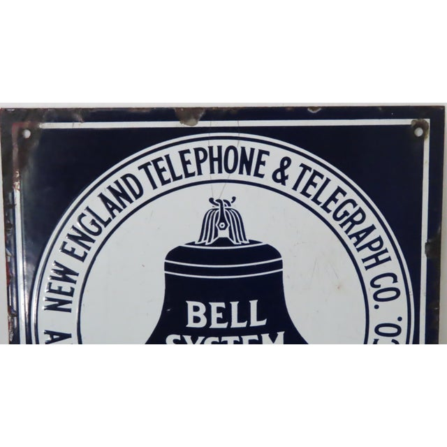 American Antique Porcelain on Steel Bell Telephone Advertising Sign For Sale - Image 3 of 13