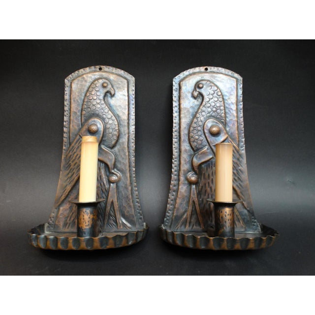 Arts & Crafts Hand Wrought Copper Sconce With Bird Motif - a Pair For Sale In Los Angeles - Image 6 of 6