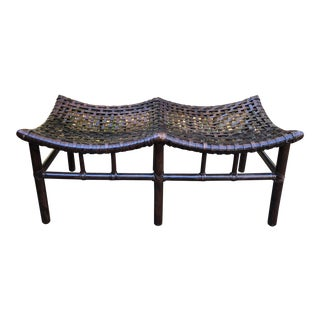 McGuire Antalya Rawhide Rattan Double Bench For Sale