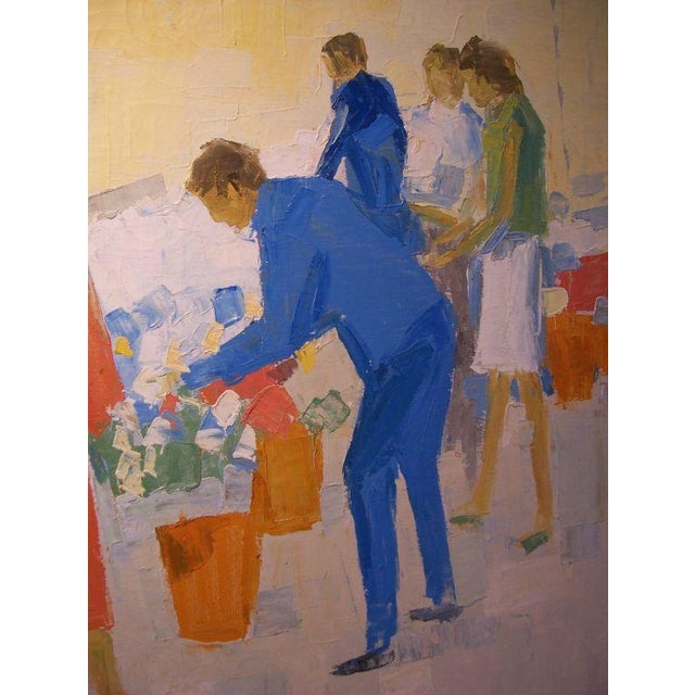 """W.R. Barrel is a fine arts listed American artist - this piece is a beautiful scene of """"Two ladies at the flower market"""" -..."""