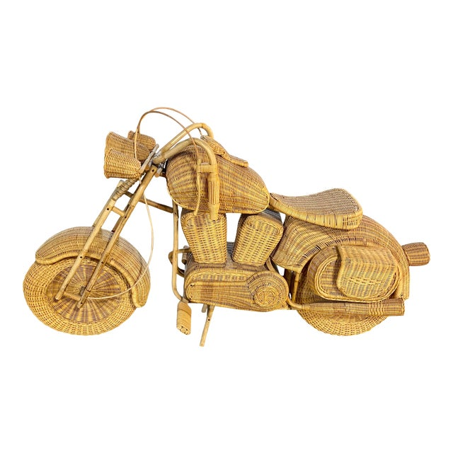 1970s Handmade Life-Size Wicker Motorcycle For Sale