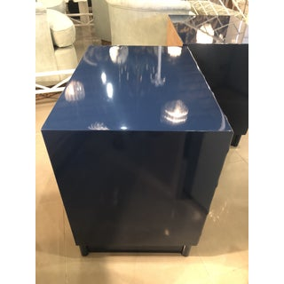 Vintage Chinese Chippendale Navy Lacquered Mirror Lucite Brass Nightstands Chests -A Pair Preview