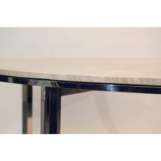 Pace Polished Stainless and Travertine Dining Table - Image 2 of 7